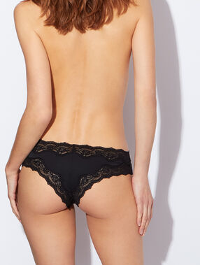 Lace and micro brief black.