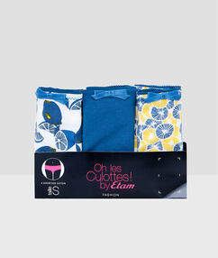 Lot de 3 shortys en coton bleu.