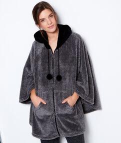 Ponczo piżama na suwak, polarowa w dotyku anthracite.