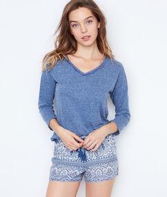 T-shirt chine bleu.