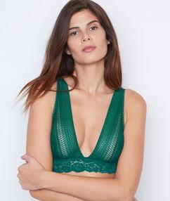 Bralette de encaje verde.