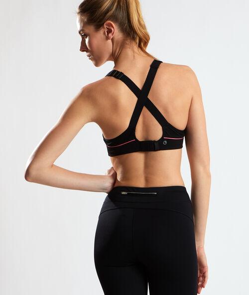 Sport bra, crossover straps;${refinementColor}