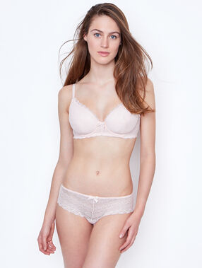 Padded demi cup bra, d cup pink.