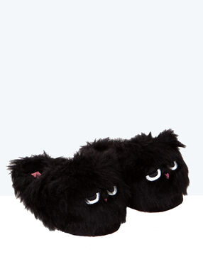 Faux fur 3d slippers black.