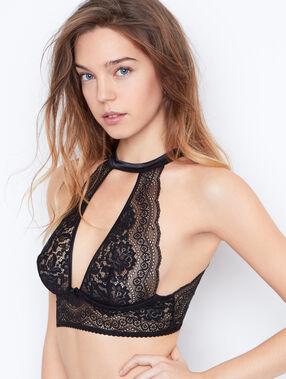 Lace triangle bra black.