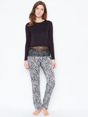 Printed pyjama pants black.