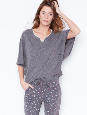 Pyjama oberteile grau.