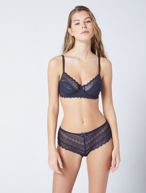 Lace demi cup, b to e cup grey.