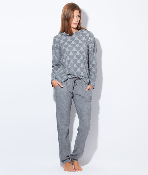 Pyjama 2 pièces, haut imprimé coeurs