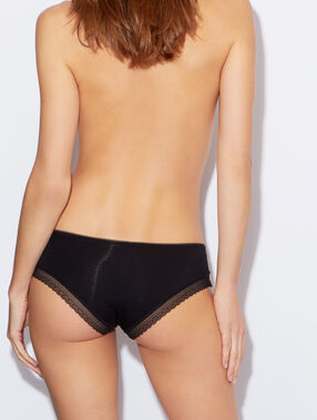 Modal shorty with a lace band black.