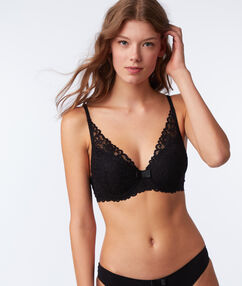 Lace triangle padded demi cup black.