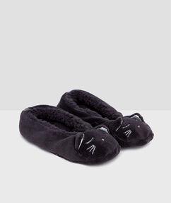 Chaussettes de maison chat gris.