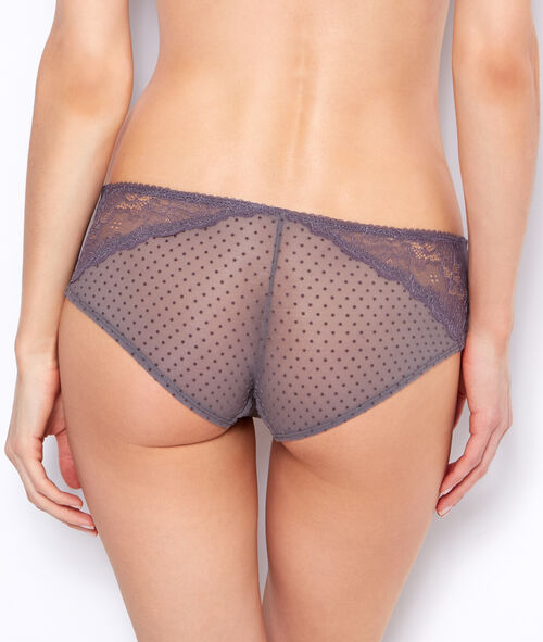 Shorty en tulle flocké, empiècement dentelle;${refinementColor}