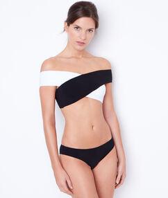 Bandeau bra + bikini bottom black.