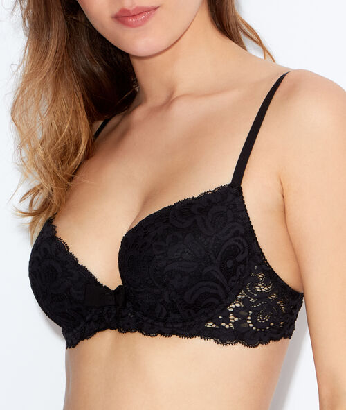 Lace padded demi cup bra, B to E cups;${refinementColor}
