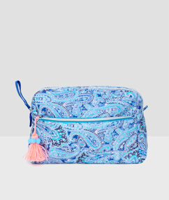 Cashmere print toiletry bag blue/coral.