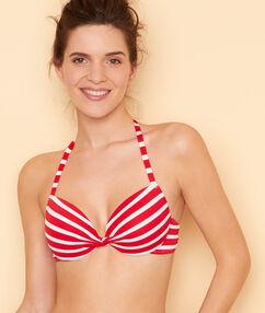 Haut de maillot de bain ampliforme imprimée marinière rouge.