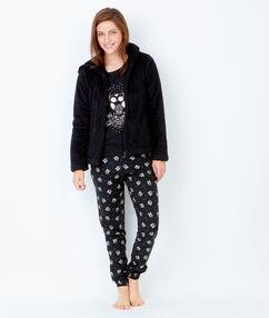 Pantalon imprimé, détails glitter noir.