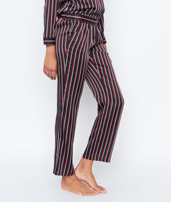 Satynowe spodnie w paski noir.