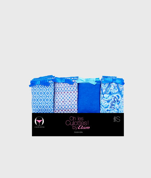Pack of 4 cotton knickers;${refinementColor}