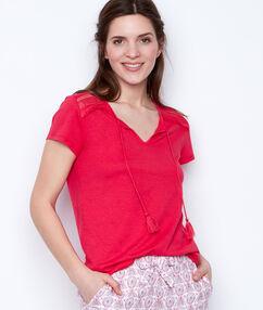 T-shirt épaules ajourées rose.
