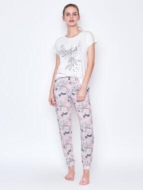 Printed pyjama blanc.