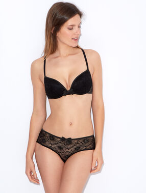 Lace padded demi cup bra black.