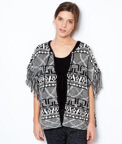 Poncho pyjama en coton à franges et imprimés tribal gris.