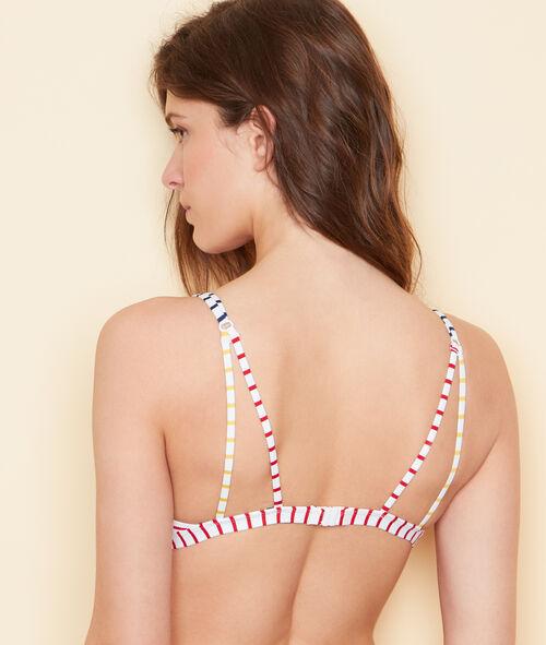 Haut de maillot de bain triangle sans armature rayé