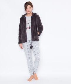 Trzyczęściowa piżama ze spodniami w deseń i ciepłą bluzą anthracite.