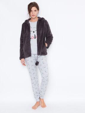 Pyjama 3 pièces, pantalon imprimé et veste toucher polaire anthracite.