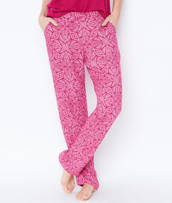 Pantalon fluide imprime rose.