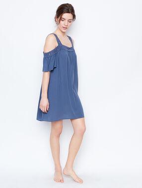 Off shoulders nightdress blue.