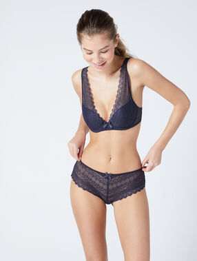Lace triangle bra grey.