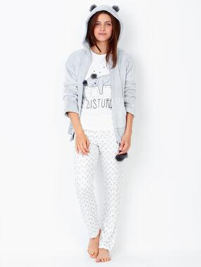 Piżama trzyczęściowa z nadrukiem, z bluzą przytulną ecru.