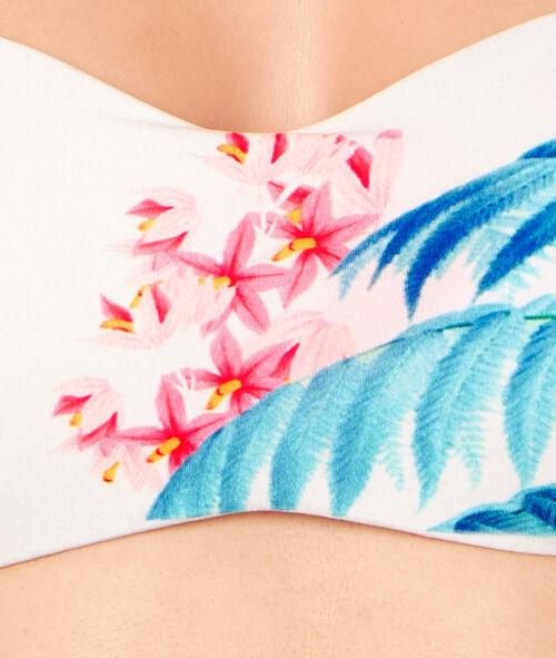 Haut de maillot de bain bandeau imprimé flamand rose;${refinementColor}