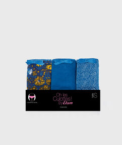 Lot de 3 shorty en coton bleu.