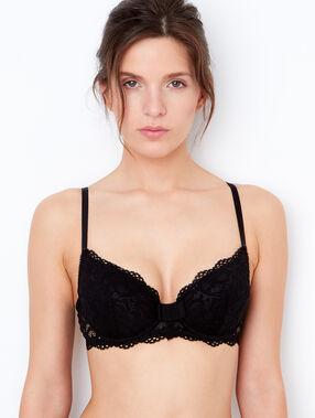 Lace padded demi cup bra black.