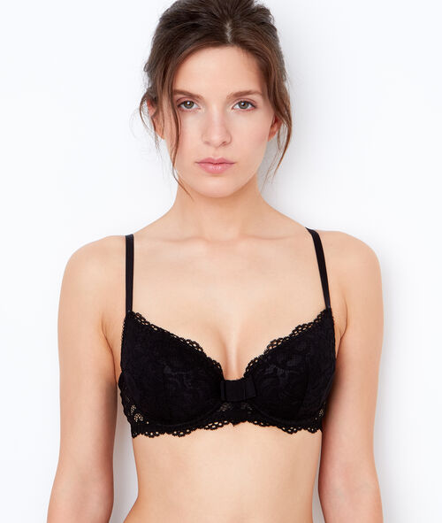Lace padded demi cup bra;${refinementColor}