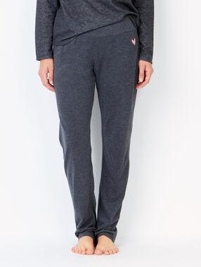 Pantalon façon jogging, détail coeur anthracite.