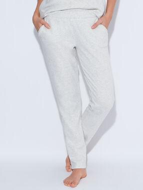 Pantalon façon jogging en maille chiné beige.
