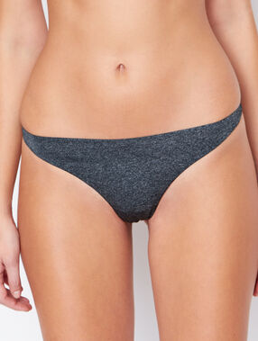 Micro and tulle thong grey.