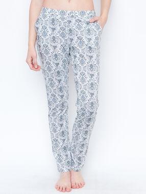 Pantalon imprime ecru.