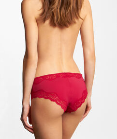 Micro and lace shorty red cherry.
