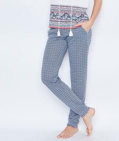 Printed pyjamapants blue.