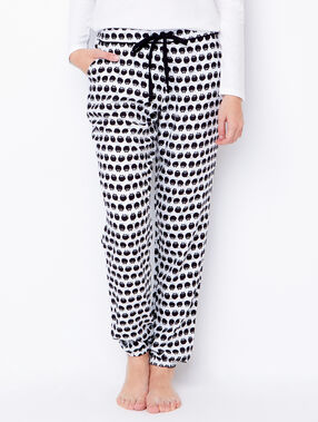 Printed cats pyjama pants white/black.