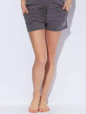 Short maille chinée, ceinture motifs, hibou glitter gris.