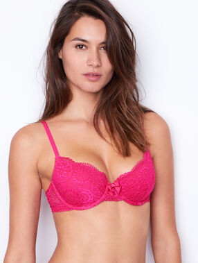 Lace padded demi cup bra pink.