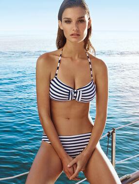 Haut de maillot de bain bandeau texturé imprimé marinière, pads et bretelles amovibles bleu / blanc.