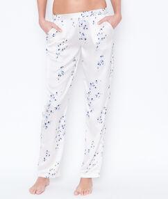 Pantalon satin imprime blanc.